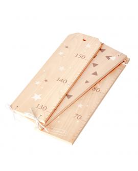 Toise en bois pliable avec deux décors recto-verso pour mesurer votre enfant