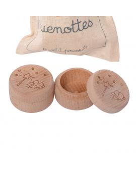 Boites à dents en bois livrées dans un pochon