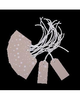 Etiquettes couleur gris taupe, un coté avec des étoiles et l'autre neutre pour écrire