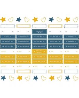 Planche de stickers 3 de l'album photo bébé pour s'adapter à tous les schémas familiaux
