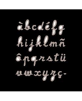 Lettres d'écolier de forme cursive. Tous les caractères sont disponibles en minuscule.