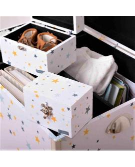 La bébéothèque c'est un coffre, 2 coffrets assortis et 3 pochons en coton